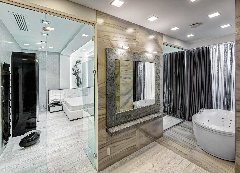 Дизайн интерьера ванной комнаты совмещенной со спальней