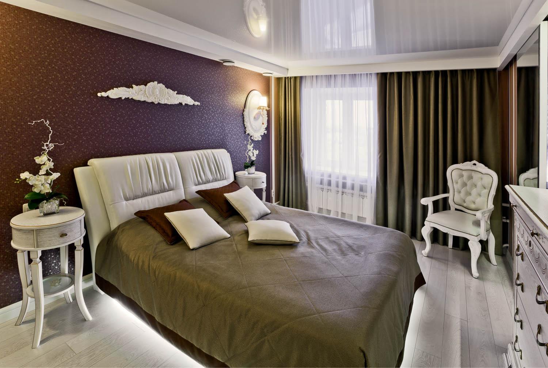 Дизайн интерьера спальни с подсветкой кровати