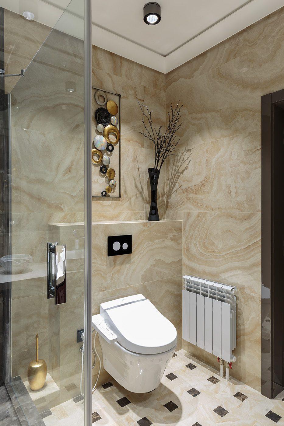 Дизайн интерьера ванной комнаты в плитке