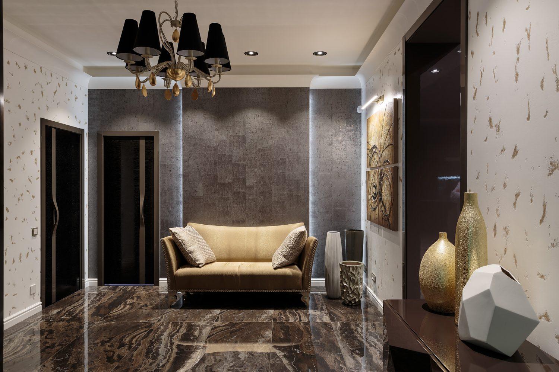 Дизайн интерьера прихожей с отделкой декоративными красками