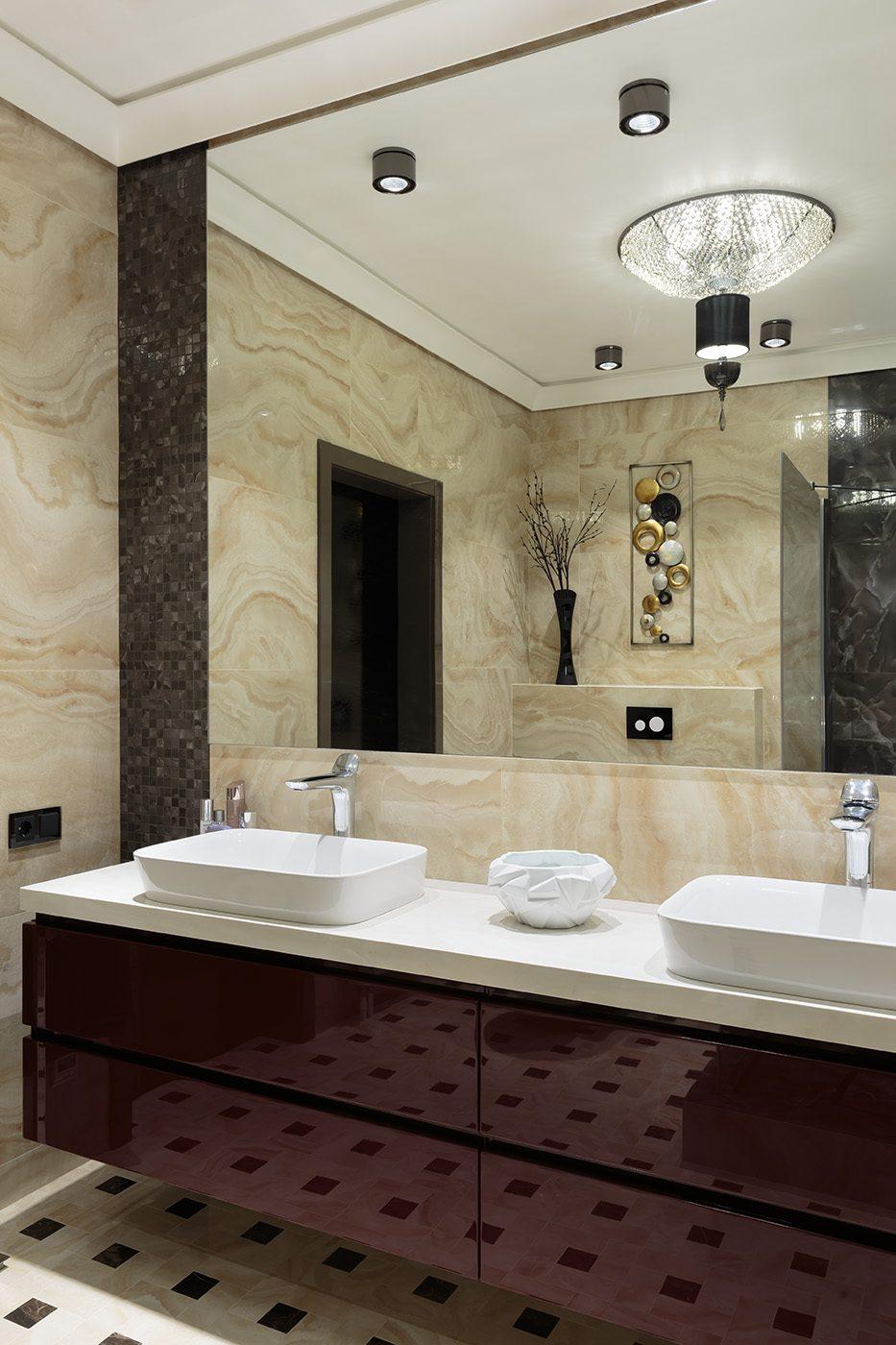 Дизайн ванной комнаты с двумя раковинами