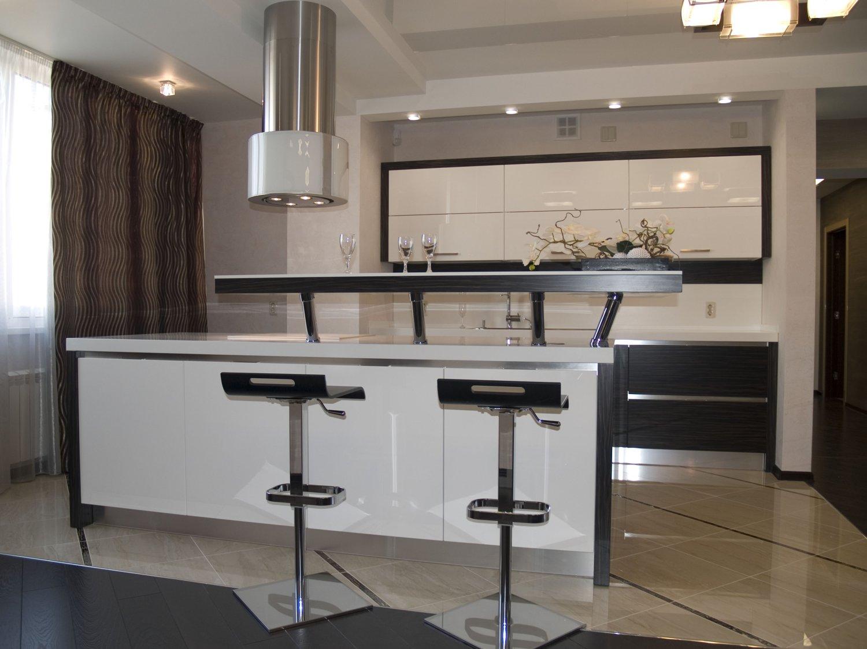Дизайн интерьера кухни с барным столом